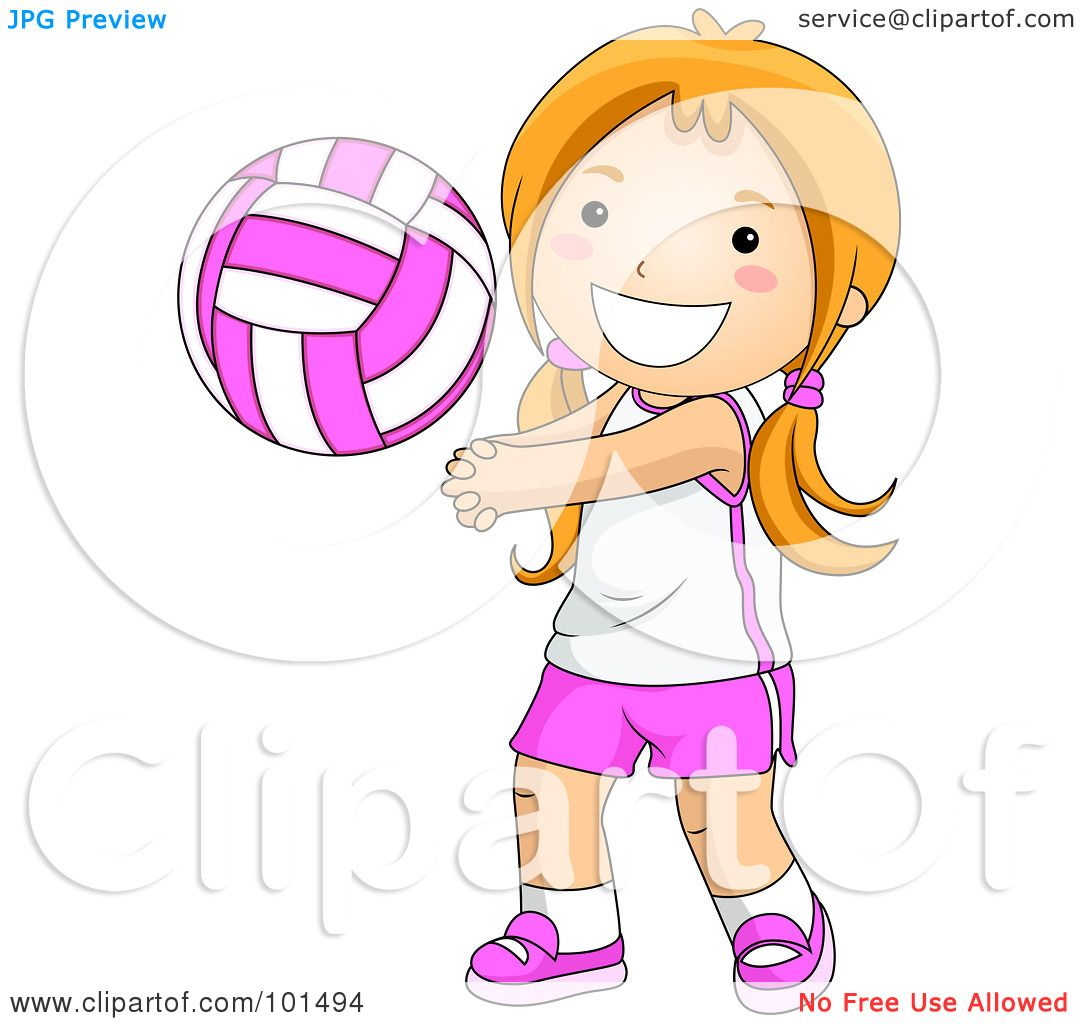 Royalty-Free  RF  Clipart Illustration of a Happy Girl Playing    Strong Girls Clipart
