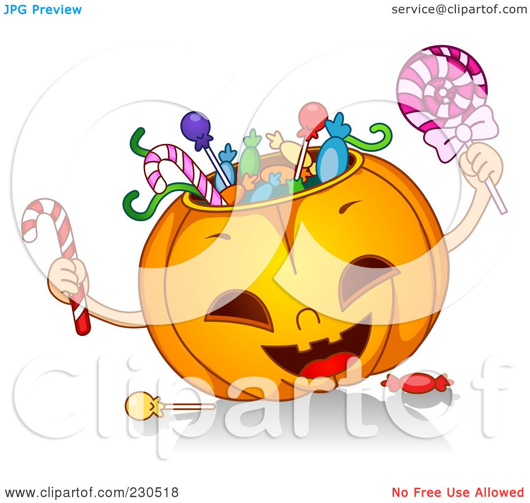 Royalty Free (RF) Clipart Illustration Of A Happy Halloween Pumpkin Stuffed  With Candy By BNP Design Studio