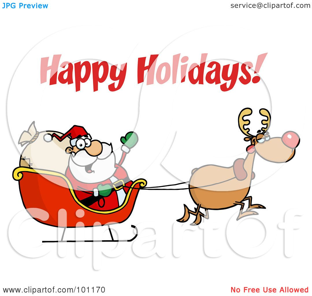 Royalty-Free (RF) Clipart Illustration of a Happy Holidays ...