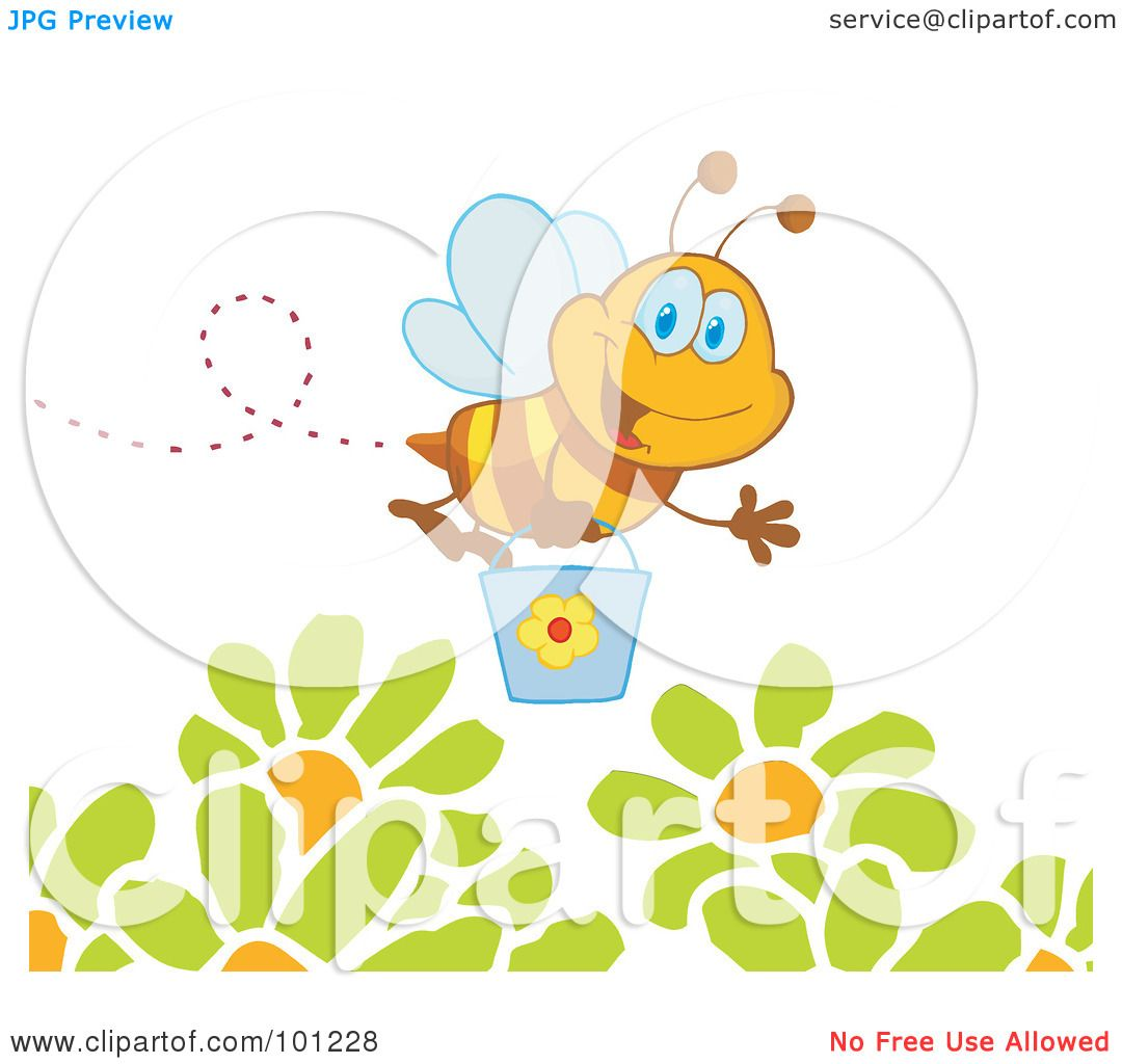 happy honey bee flying with a bucket over flowers by hit toon 101228