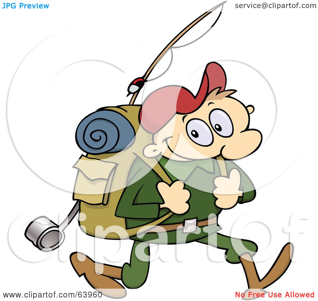 Royalty Free RF Clipart Illustration Of A Happy Male Hiker Carrying Camping Gear By Gnurf