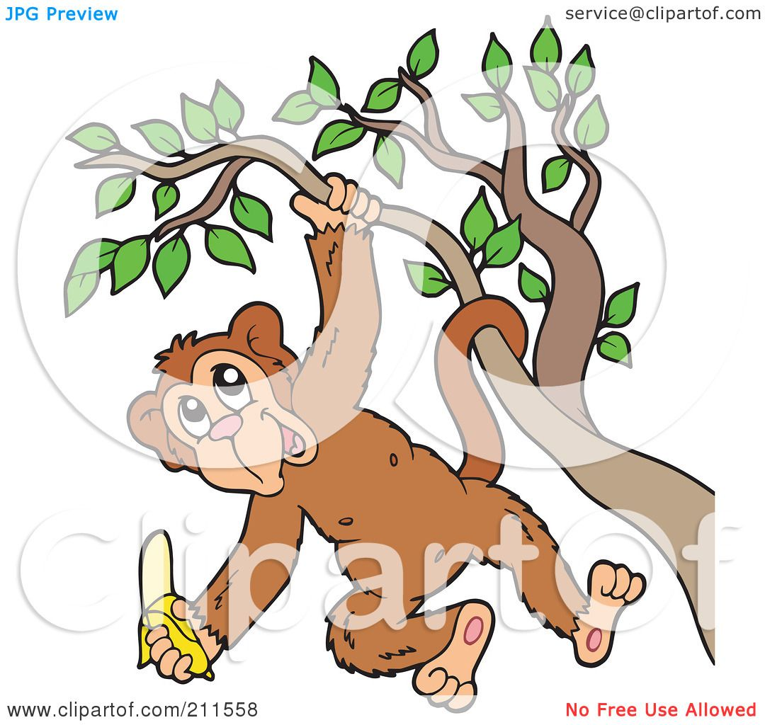royalty free rf clipart illustration of a happy monkey hanging