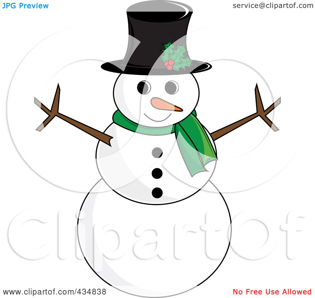 Royalty-Free (RF) Clipart Illustration Of A Happy Snowman