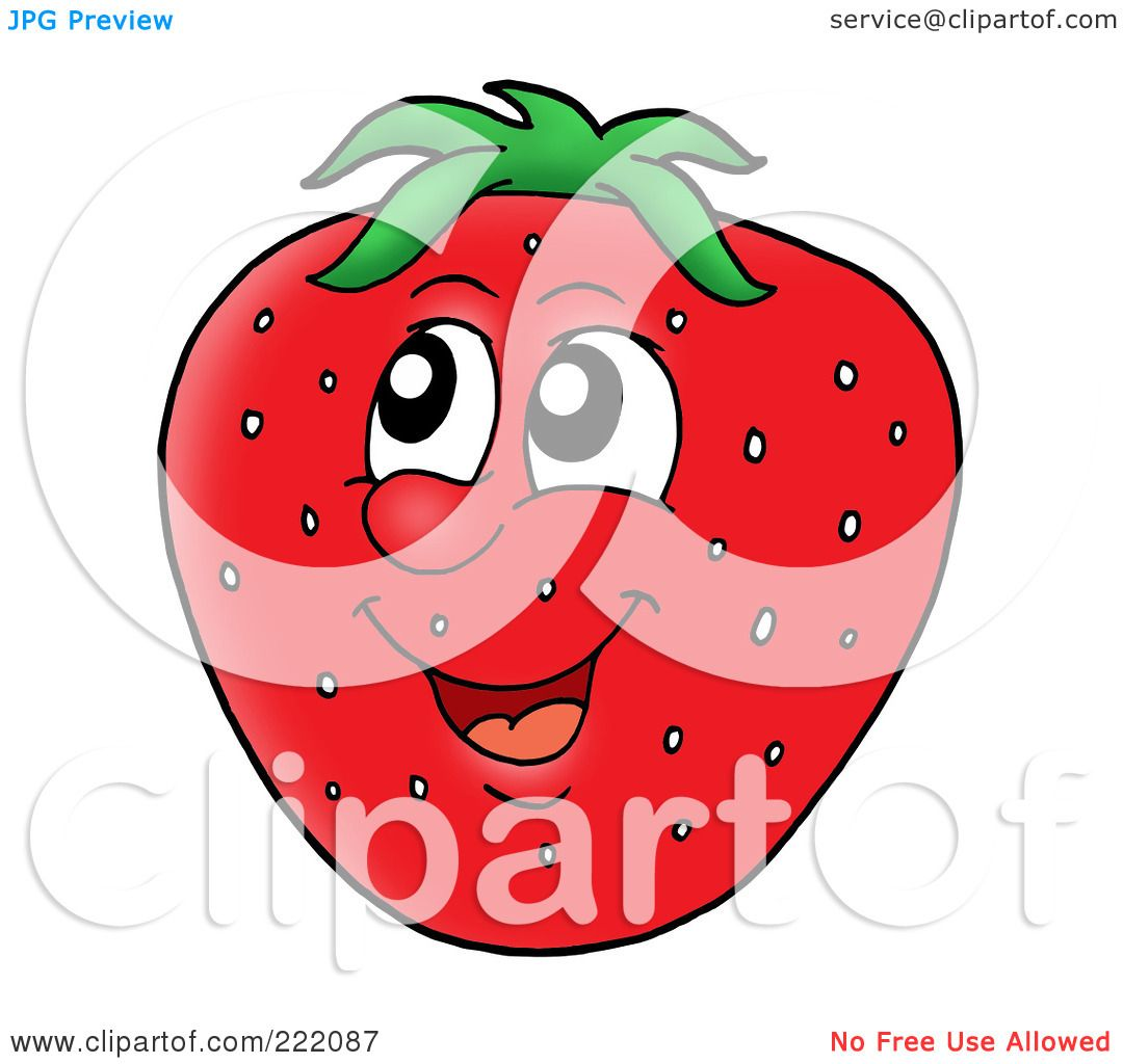 Royalty-Free (RF) Clipart Illustration of a Happy Strawberry Face ...