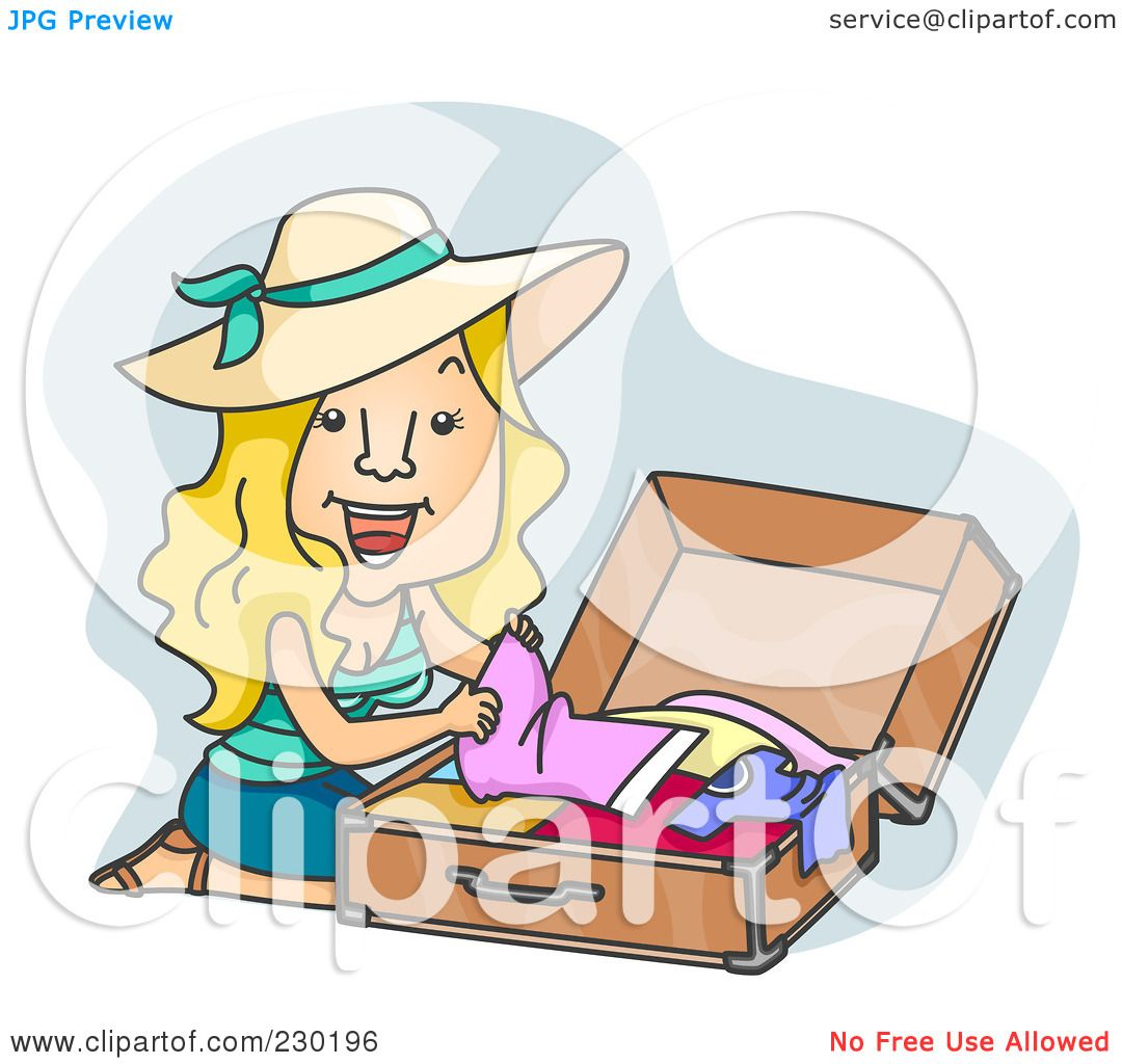 Royalty-Free (RF) Clipart Illustration of a Happy Woman ... Packing Luggage Clipart