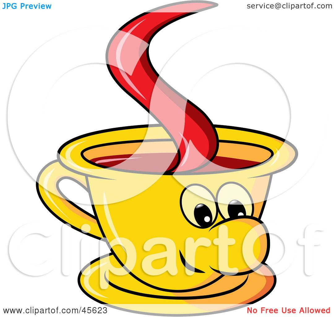 Royalty Free Rf Clipart Illustration Of A Happy Yellow Coffee Cup Rh Clipartof Com