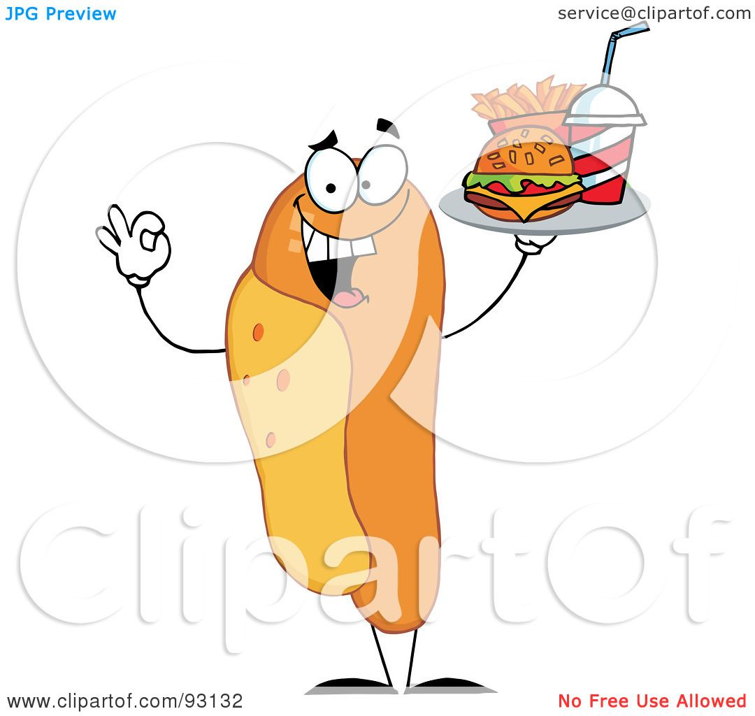Royalty-Free (RF) Clipart Illustration of a Hot Dog ...