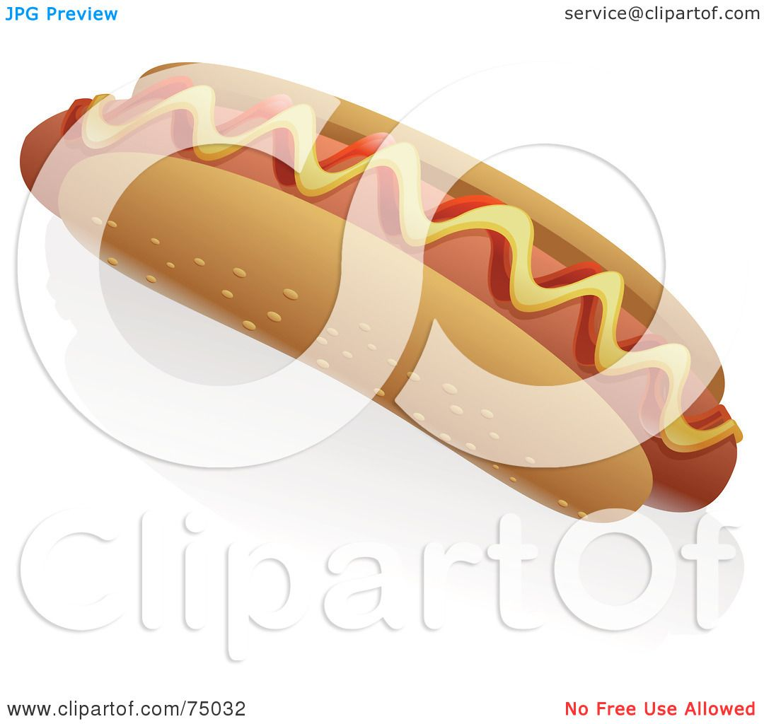 Royalty-Free (RF) Clipart Illustration of a Hot Dog With Ketchup ...