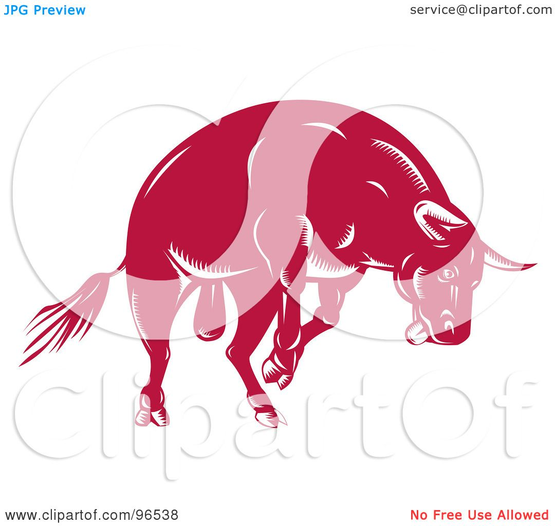 Angry Bull Drawing A Jumping Red