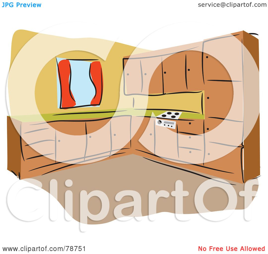 Royalty-Free (RF) Clipart Illustration Of A Kitchen With