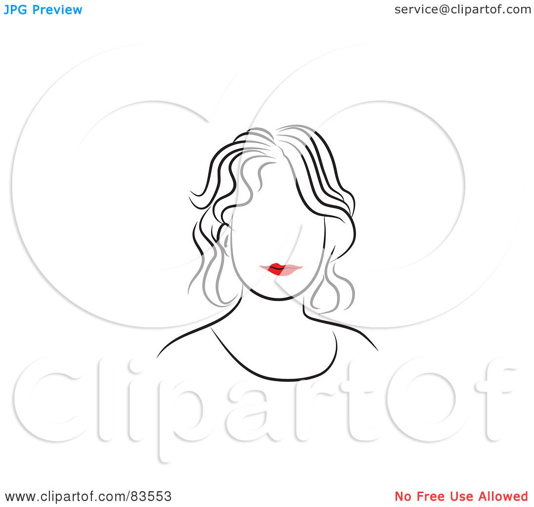 Free Line Drawing Woman Face : Royalty free rf clipart illustration of a line drawing