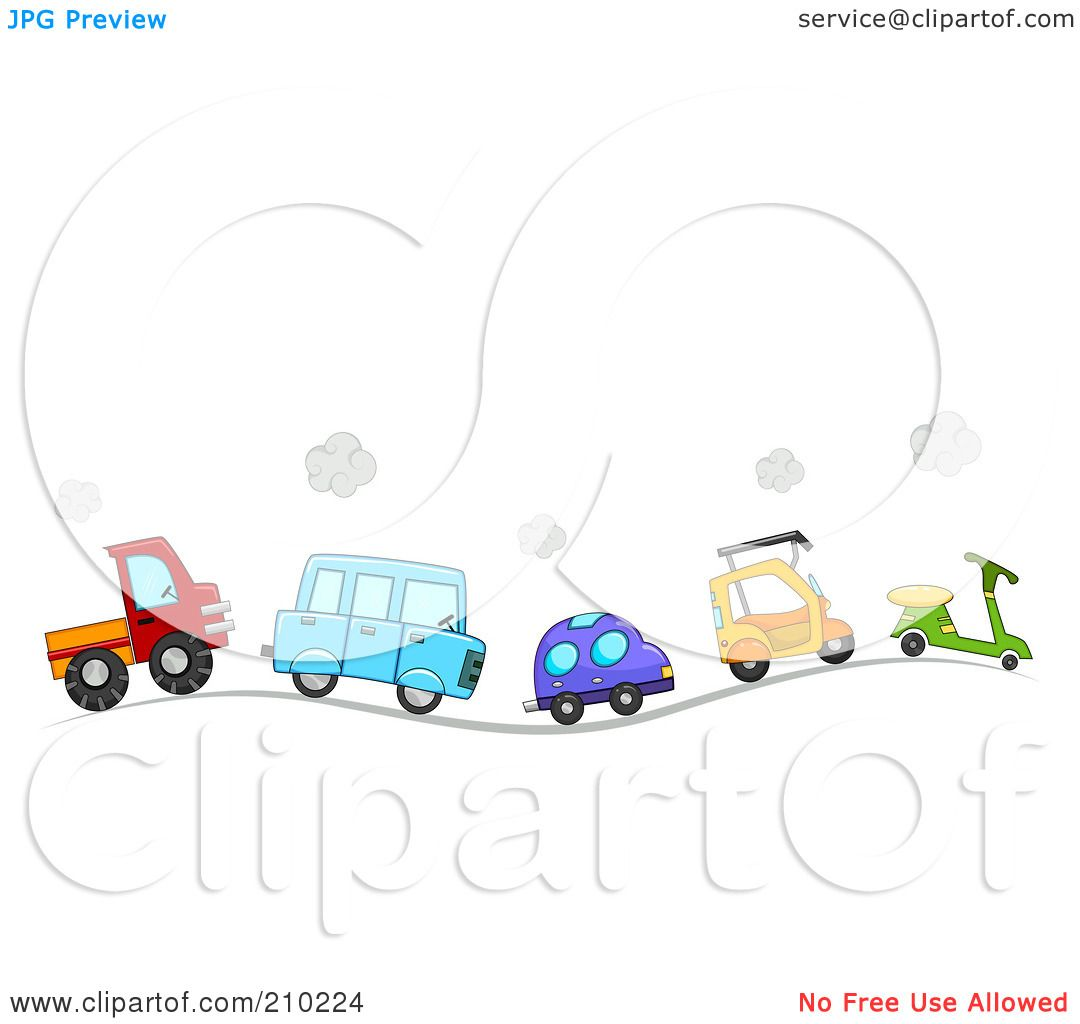 Royalty-Free (RF) Clipart Illustration of a Line Of Cute Cars And ...