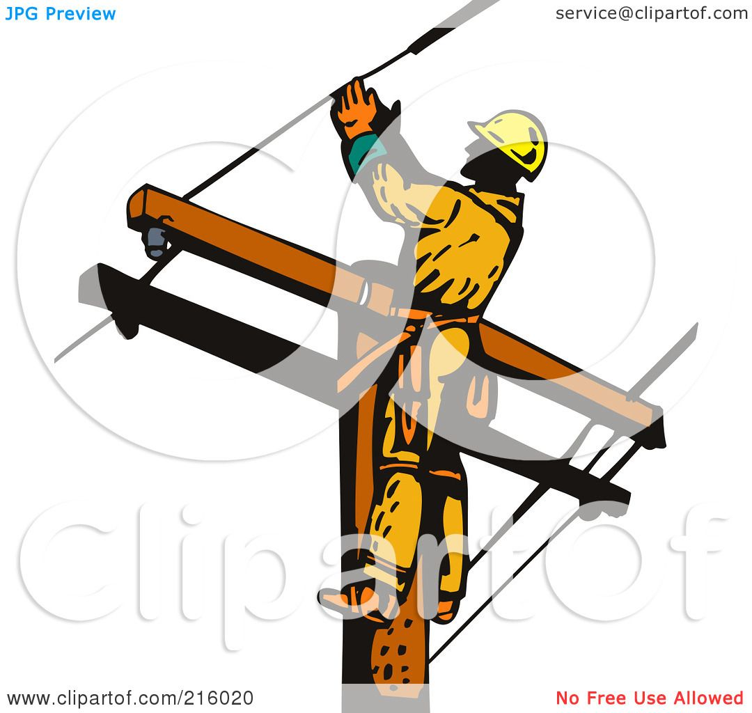 royalty free rf clipart illustration of a lineman on a pole 17 rh clipartof com football lineman clipart lineman clipart black and white