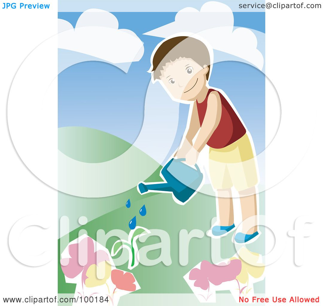 Royalty Free RF Clipart Illustration Of A Little Boy Watering Plants In His Garden By Mayawizard101