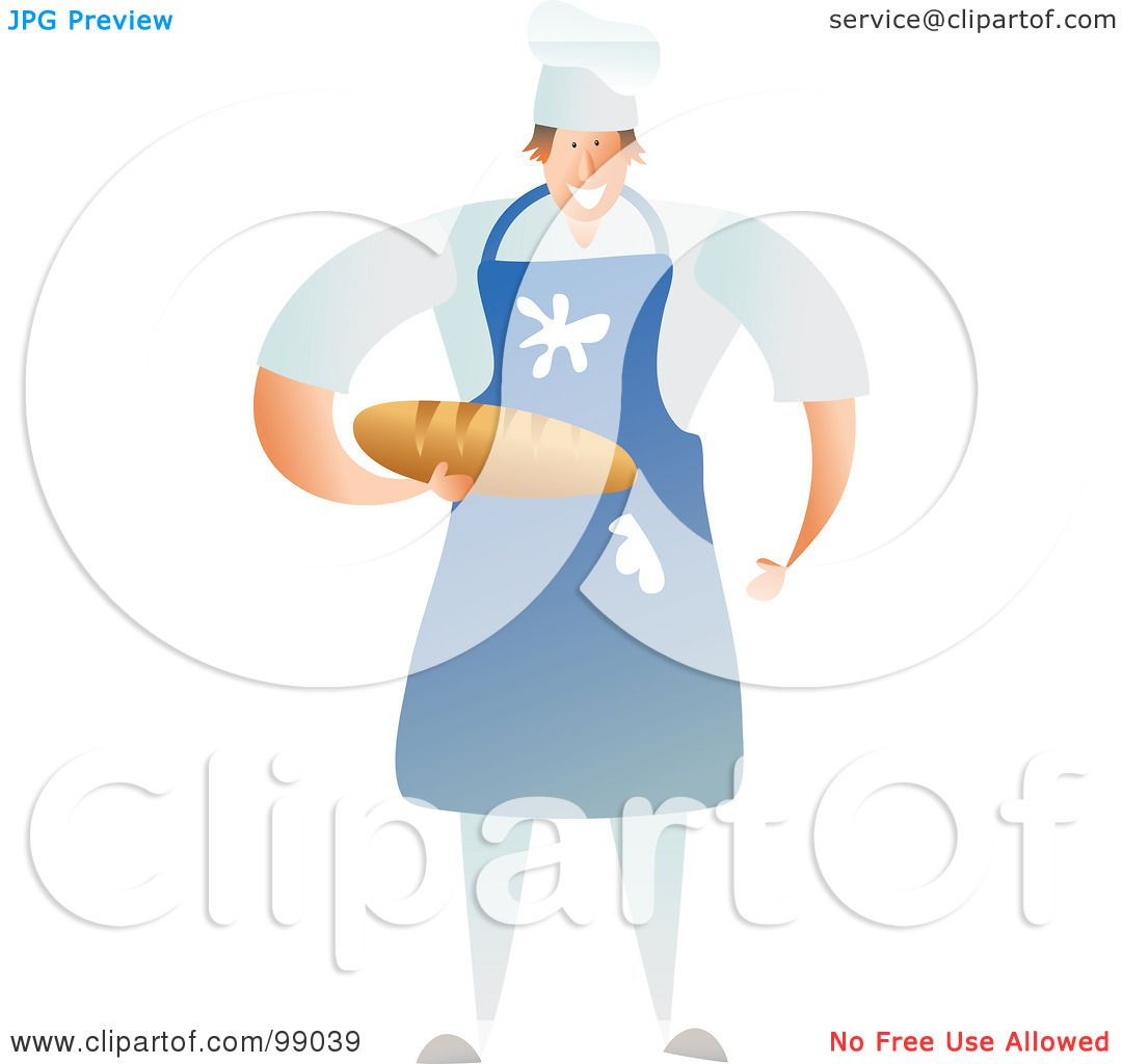 Blue apron free - Royalty Free Rf Clipart Illustration Of A Male Baker Wearing A Messy Blue Apron And Holding Bread By Prawny