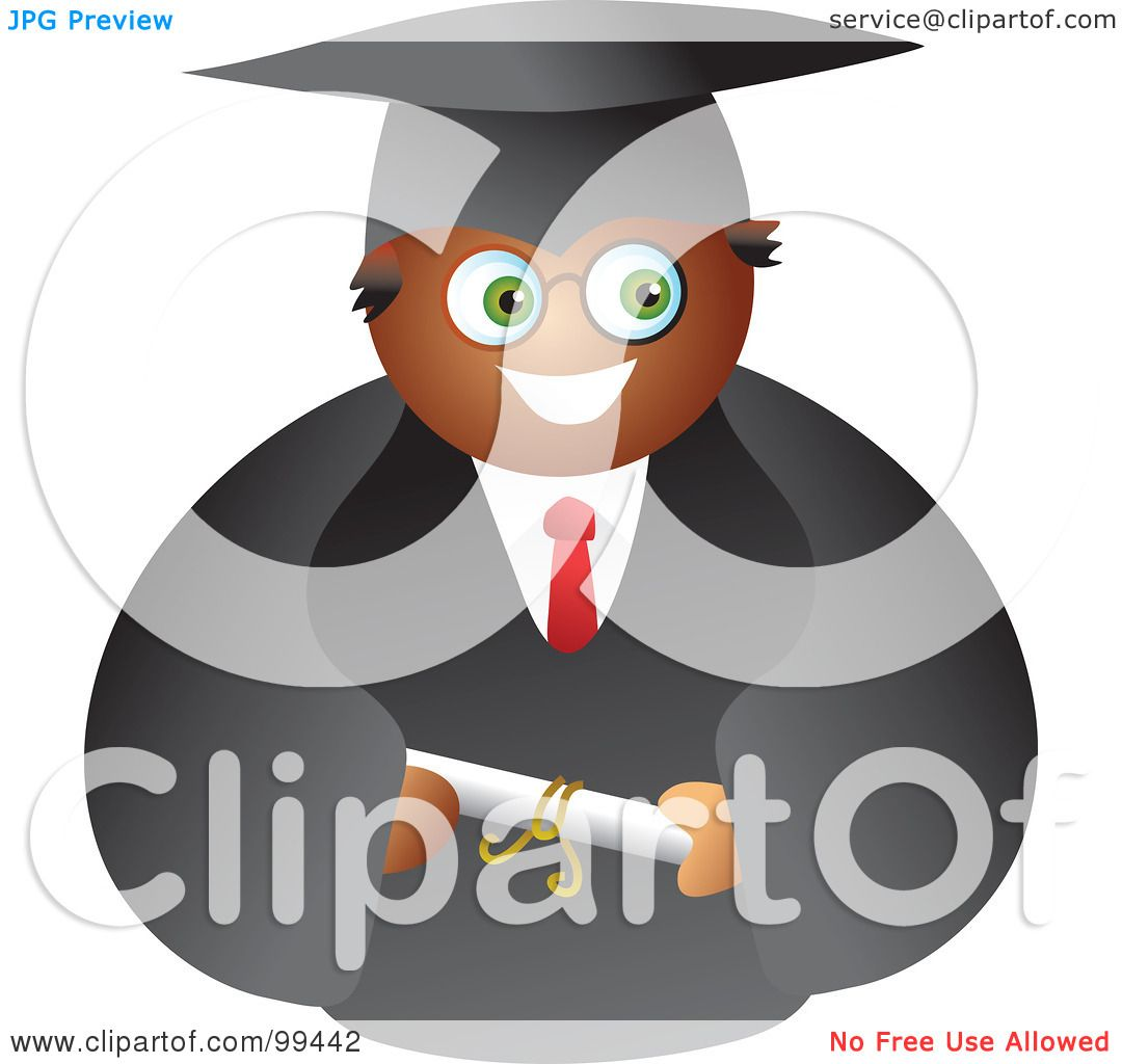 Royalty-Free (RF) Clipart Illustration of a Male Graduate In A Black ...