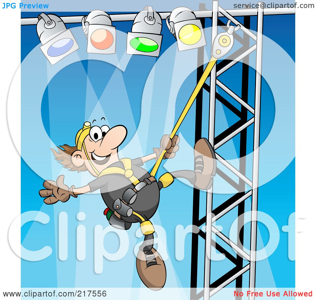 lighting technician. royaltyfree rf clipart illustration of a male lighting technician setting up lights by holger bogen