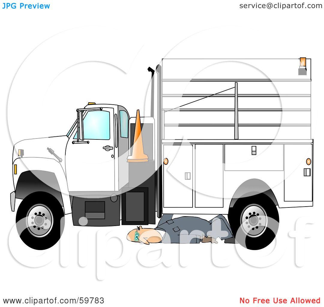 Green truck clipart royalty free rf pickup truck clipart - Royalty Free Rf Clipart Illustration Of A Male Mechanic Repairing An Industrial Truck By Djart