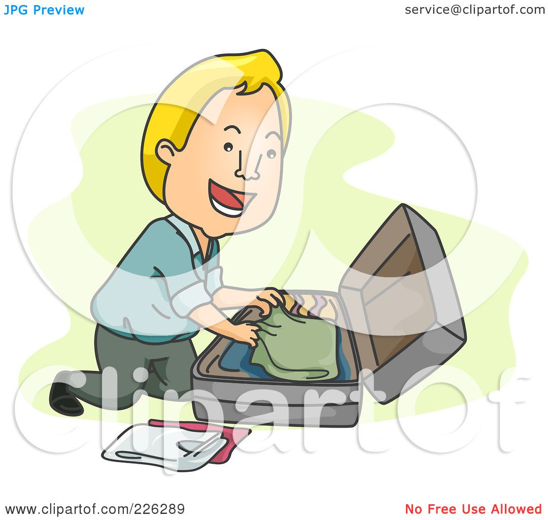 Royalty Free Rf Clipart Illustration Of A Man Packing