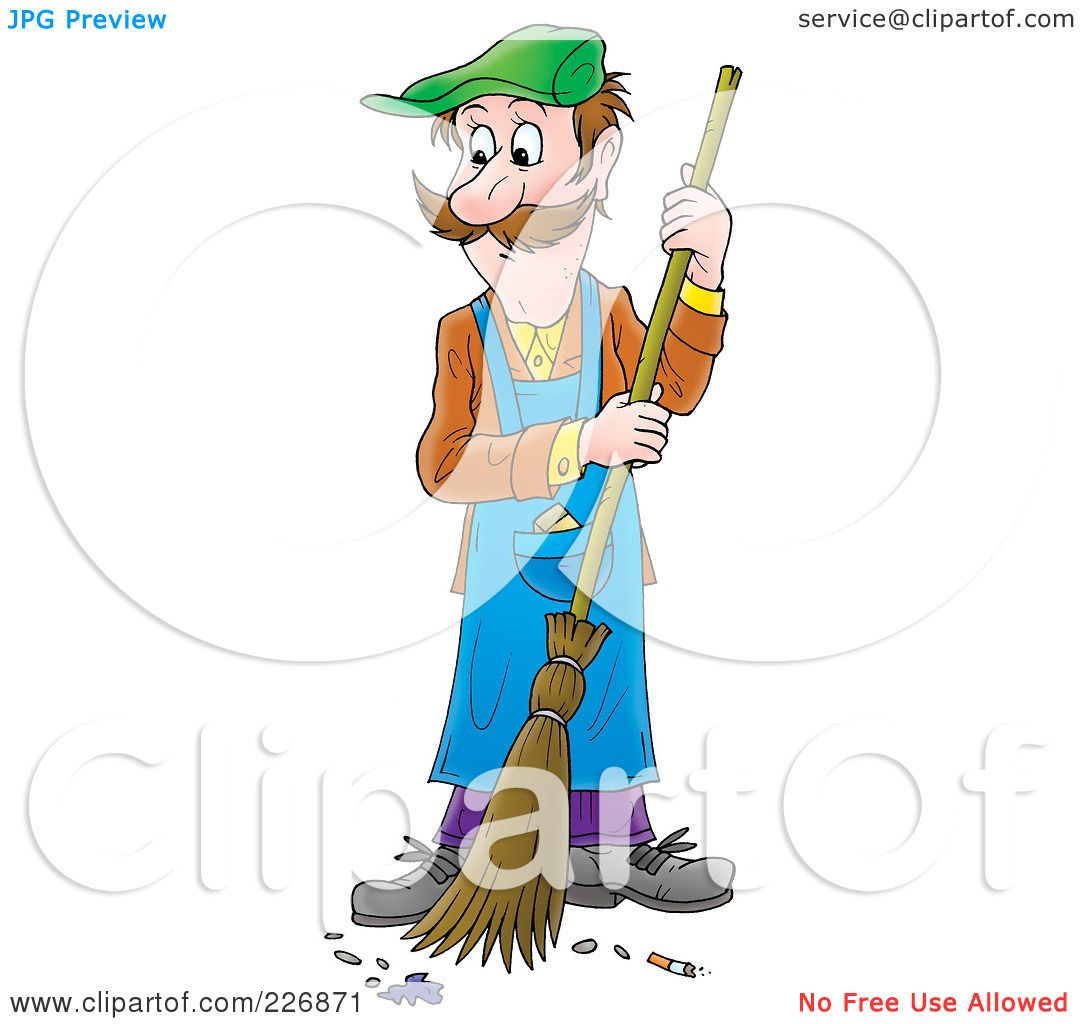 Royalty Free Rf Clipart Illustration Of A Man Sweeping A