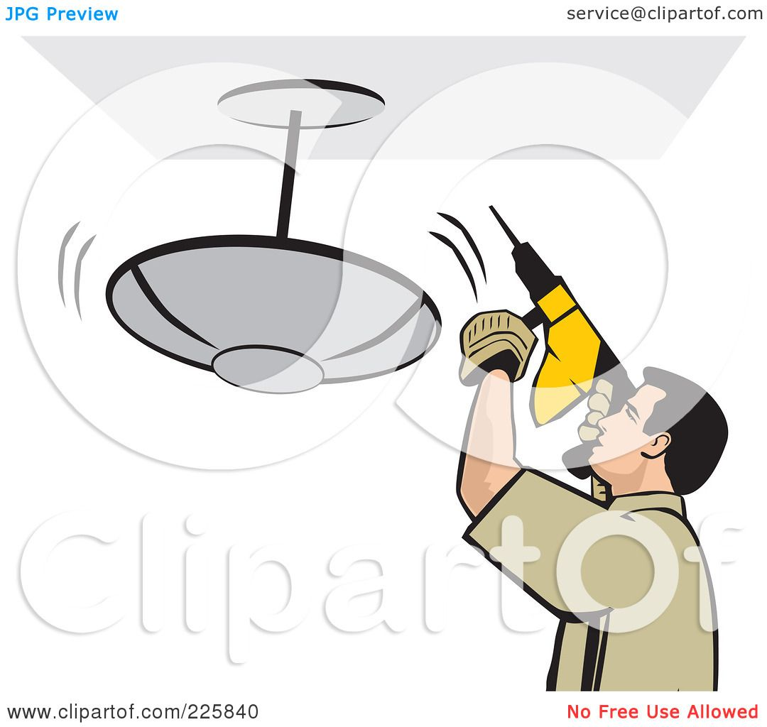 Royalty free rf clipart illustration of a man using a drill to royalty free rf clipart illustration of a man using a drill to install a light fixture by david rey arubaitofo Gallery