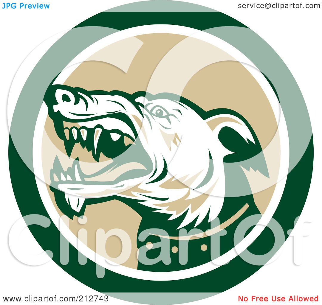 Royalty-Free (RF) Clipart Illustration of a Mean Dog Face Logo by ...