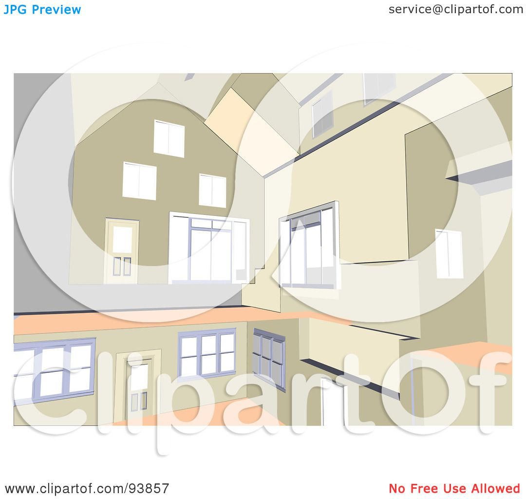 Royalty free rf clipart illustration of a modern home for Modern house clipart