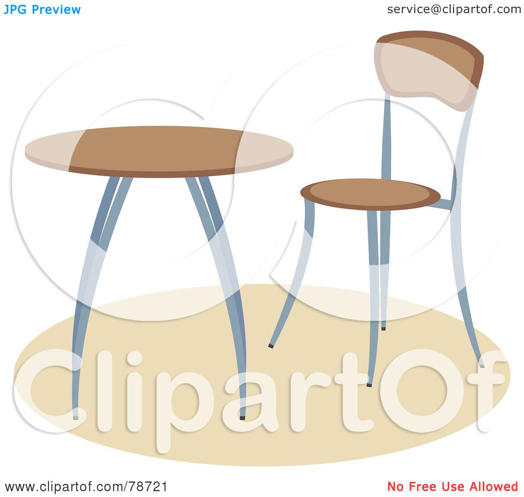 Royalty Free RF Clipart Illustration Of A Modern Wooden Chair By Small Table Prawny