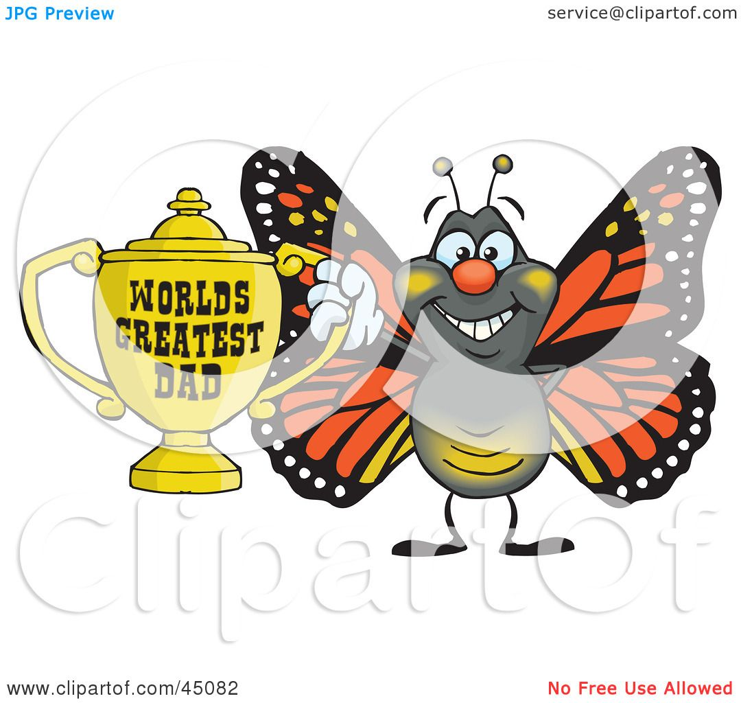 clipart illustration of a happy blue butterfly leaping off of