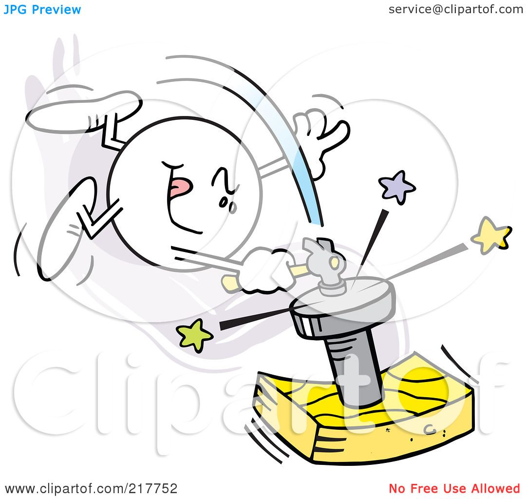 Royalty Free RF Clipart Illustration Of A Moodie Character Hitting Nail On The Head By Johnny Sajem