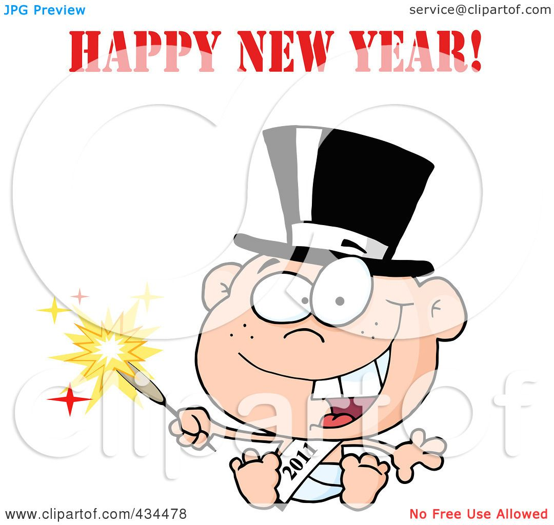 royaltyfree rf clipart illustration of a new year baby
