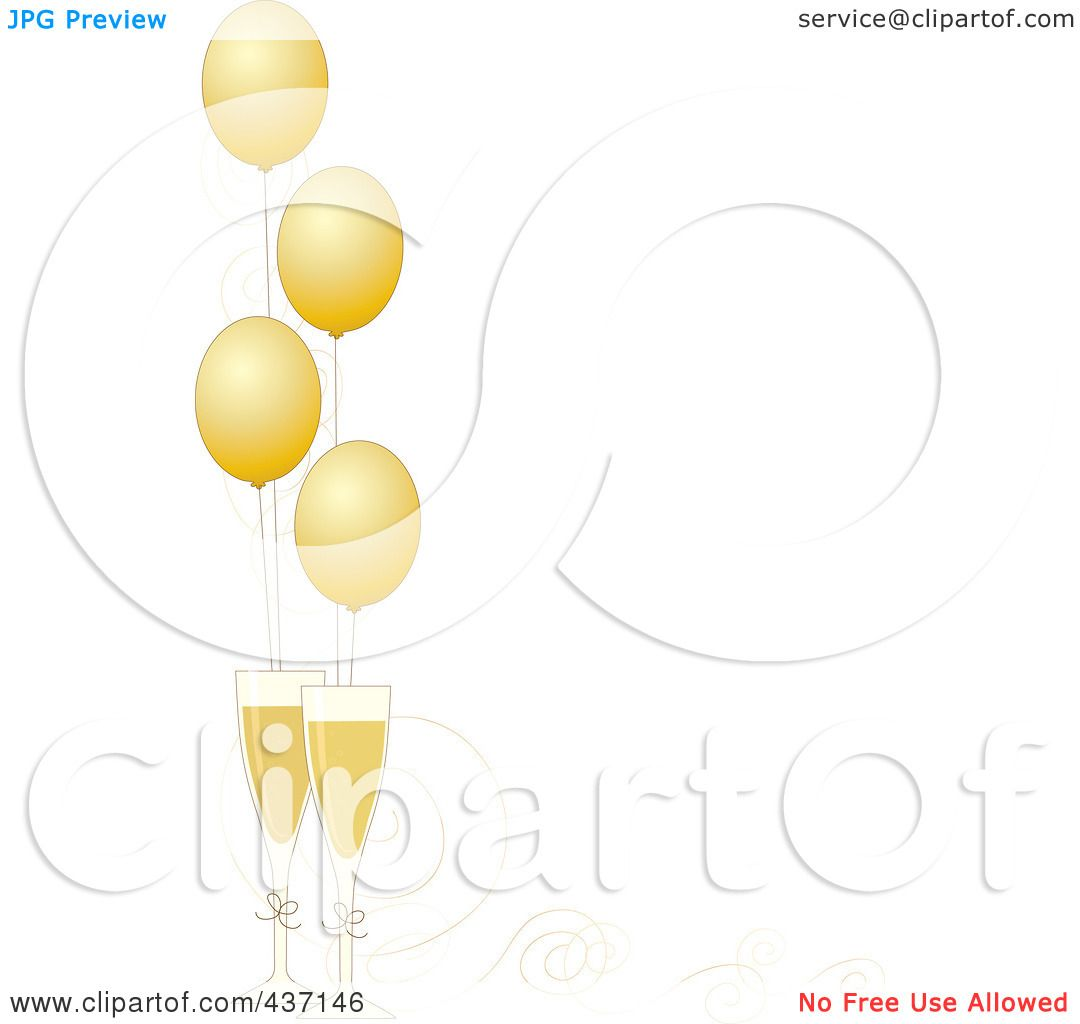 royalty free rf clipart illustration of a new year border of golden party balloons with champagne glasses and ribbons by maria bell