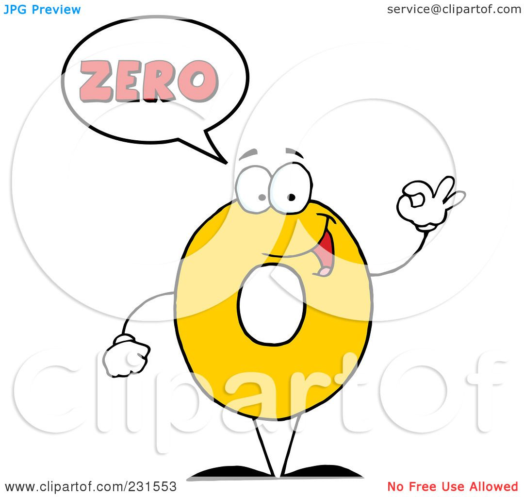 Royalty-Free (RF) Clipart Illustration of a Number Zero Character ...