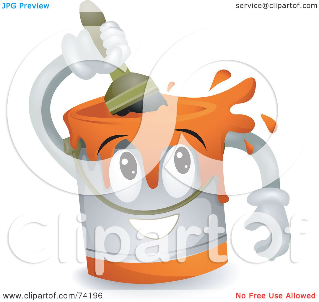 Royalty-Free (RF) Clipart Illustration of a Paint Can Character ...