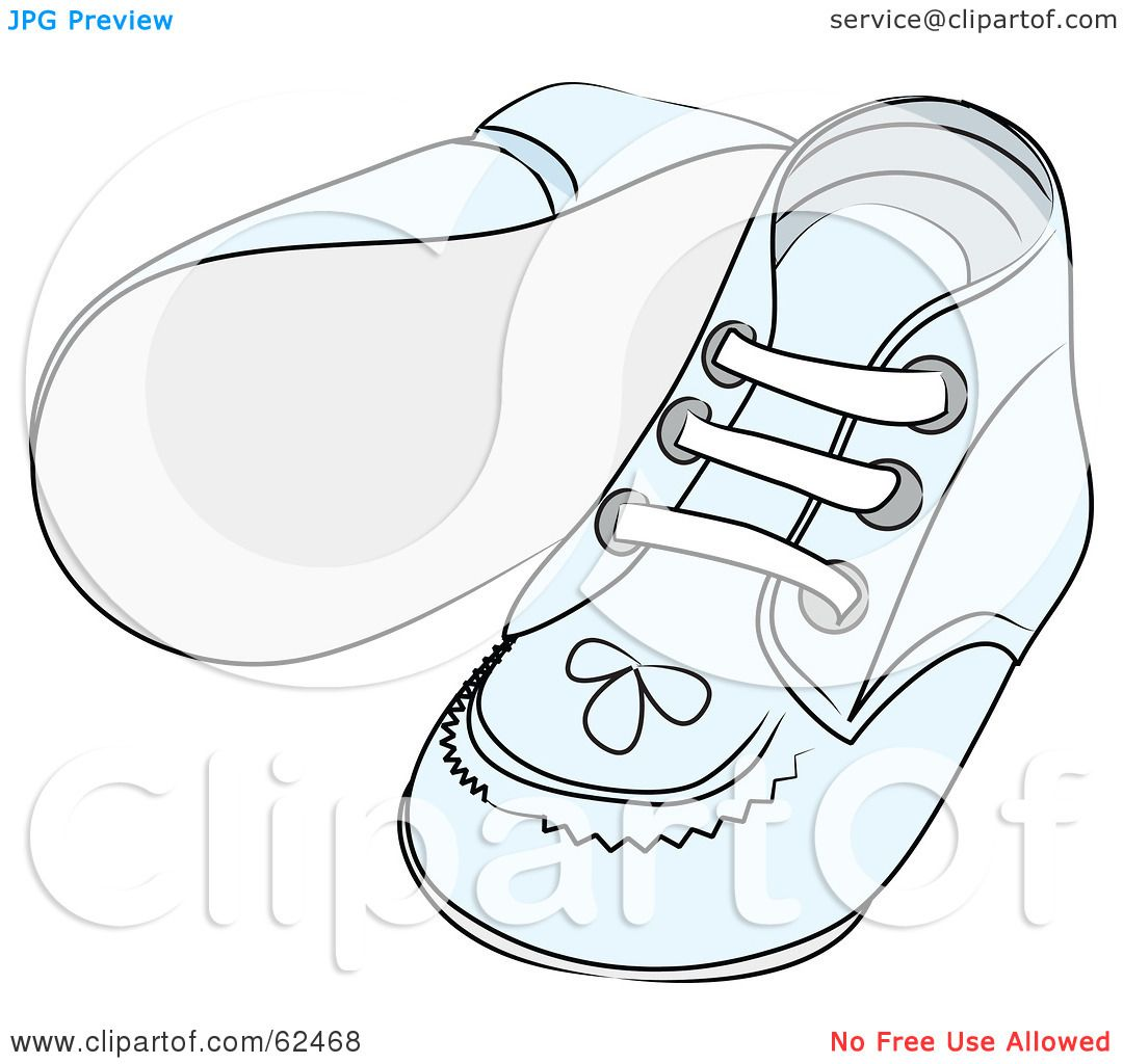 Royalty-Free (RF) Clipart Illustration of a Pair Of Blue Baby Shoes With  Stitching Patterns by Pams Clipart 59ac62b713