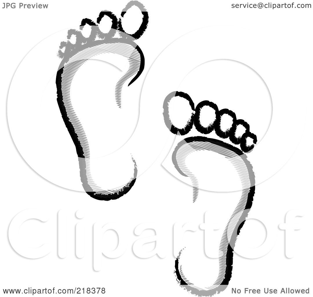 Royalty-Free  RF  Clipart Footprint Clipart Black And White