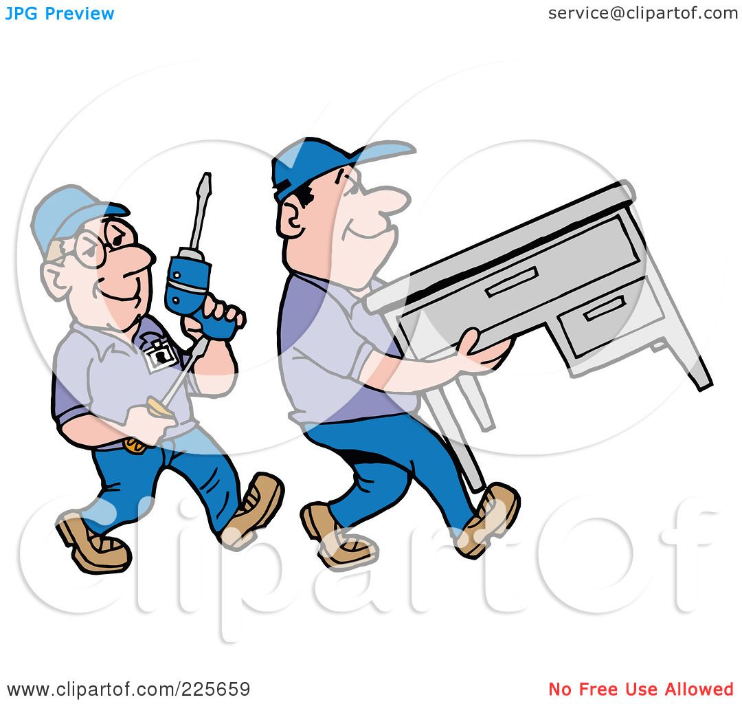 Royalty Free RF Clipart Illustration Of A Pair Office Furniture Movers Moving Desk By LaffToon