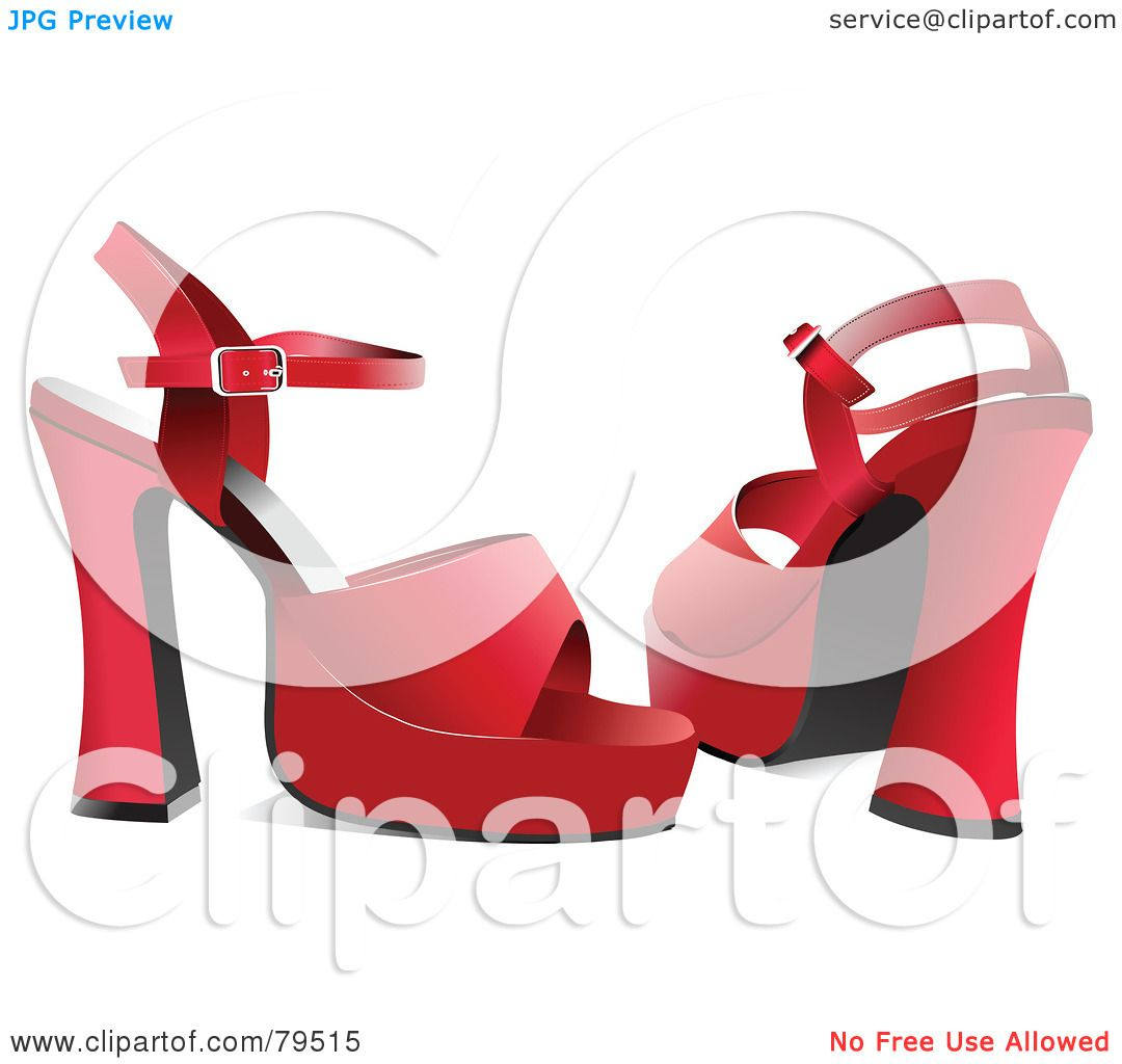 Red Chunky High Heels