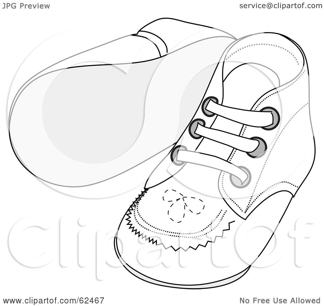 Royalty-Free (RF) Clipart Illustration of a Pair Of White Baby Shoes With  Stitching Patterns by Pams Clipart 148b575e6f