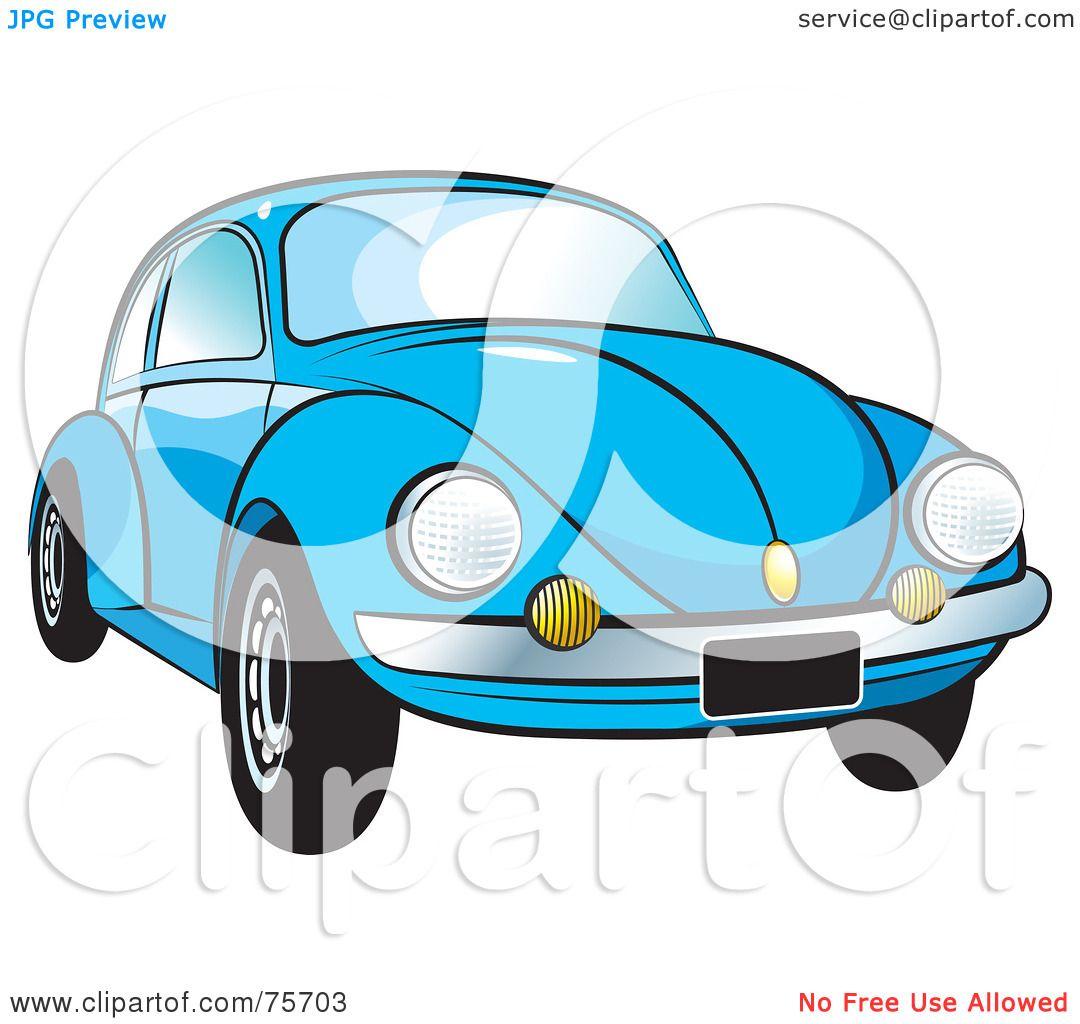 Royalty Free Rf Clipart Illustration Of A Parked Blue Slug Bug Car