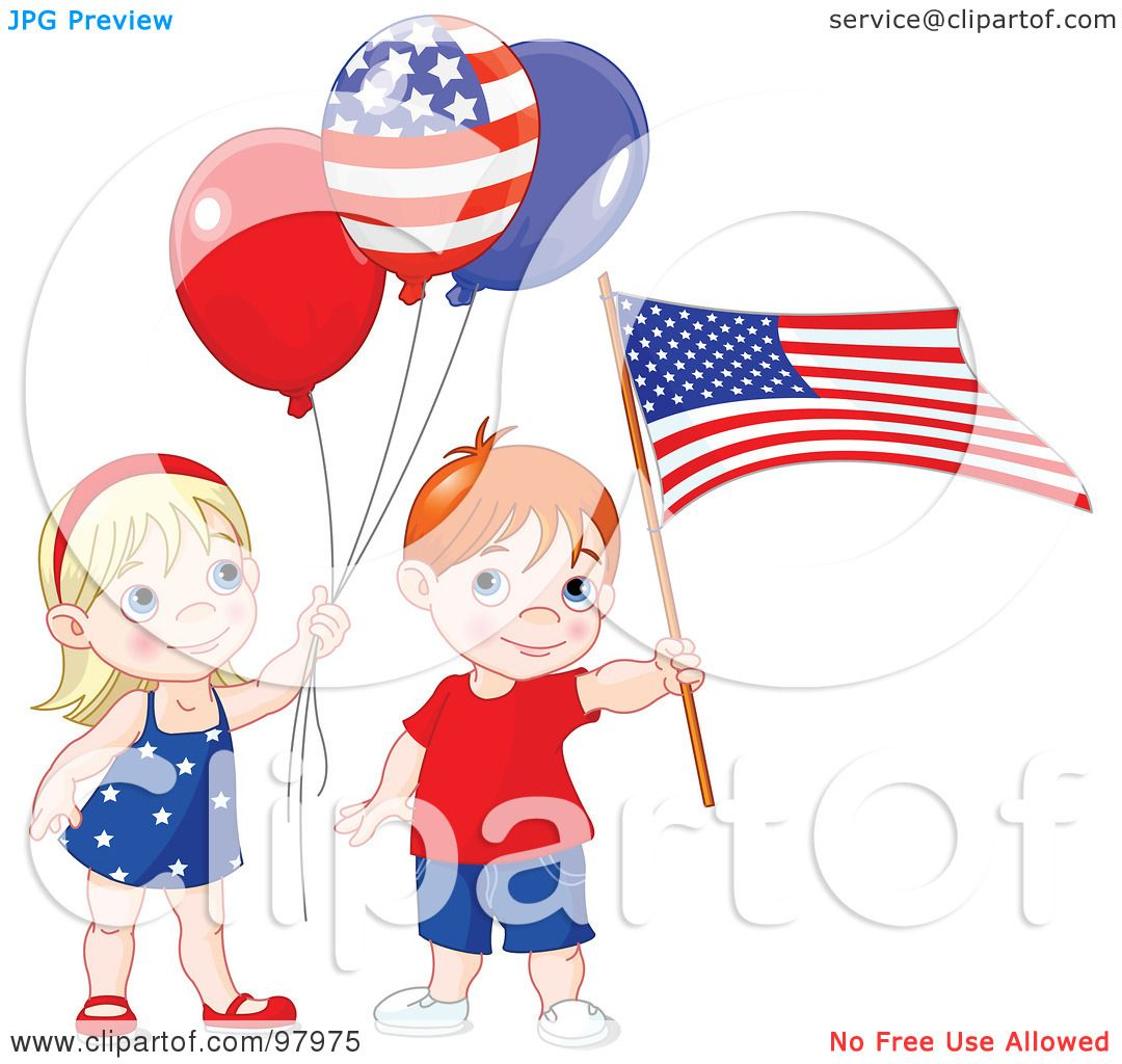 royalty free rf clipart illustration of a patriotic boy and girl rh clipartof com patriotic clipart baby patriotic clip art free images