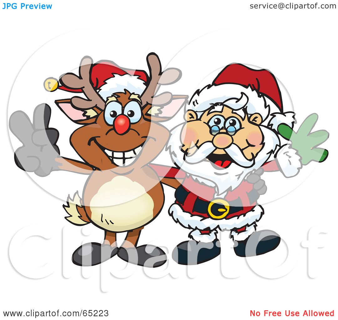 Viewing Gallery For - Santa Claus And Reindeer Clip Art