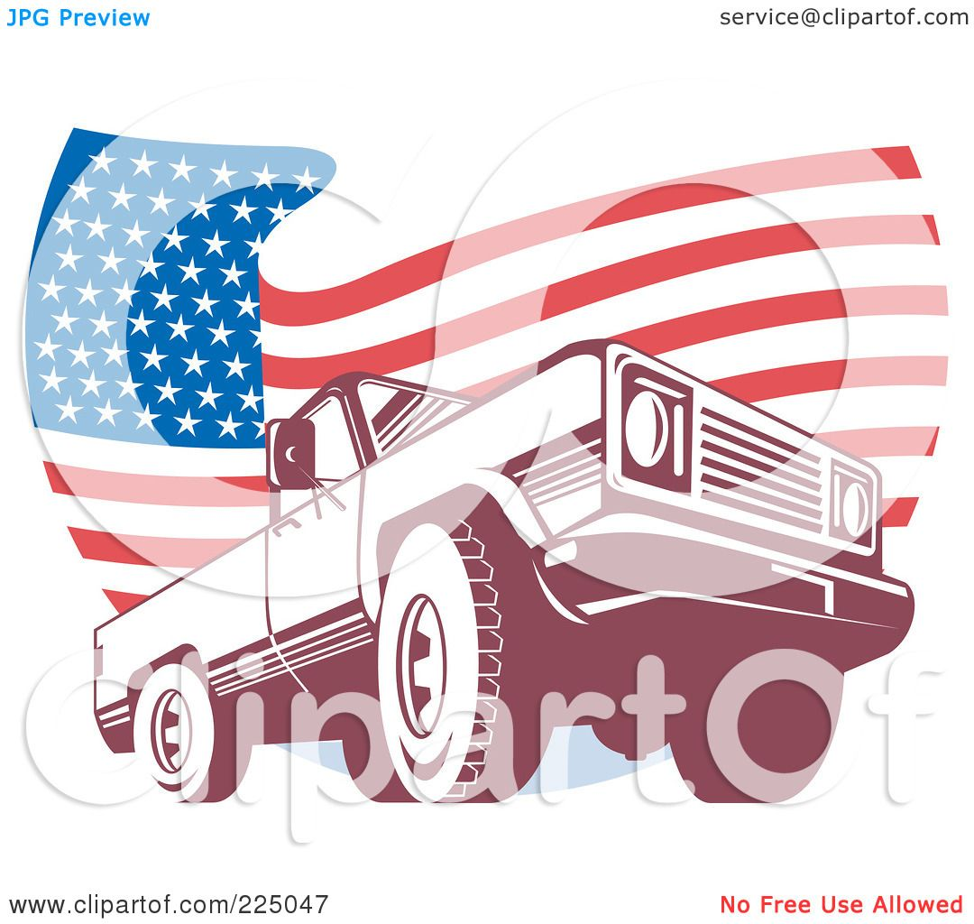 Green truck clipart royalty free rf pickup truck clipart - Royalty Free Rf Clipart Illustration Of A Pick Up Truck And Wavy American Flag Logo By Patrimonio