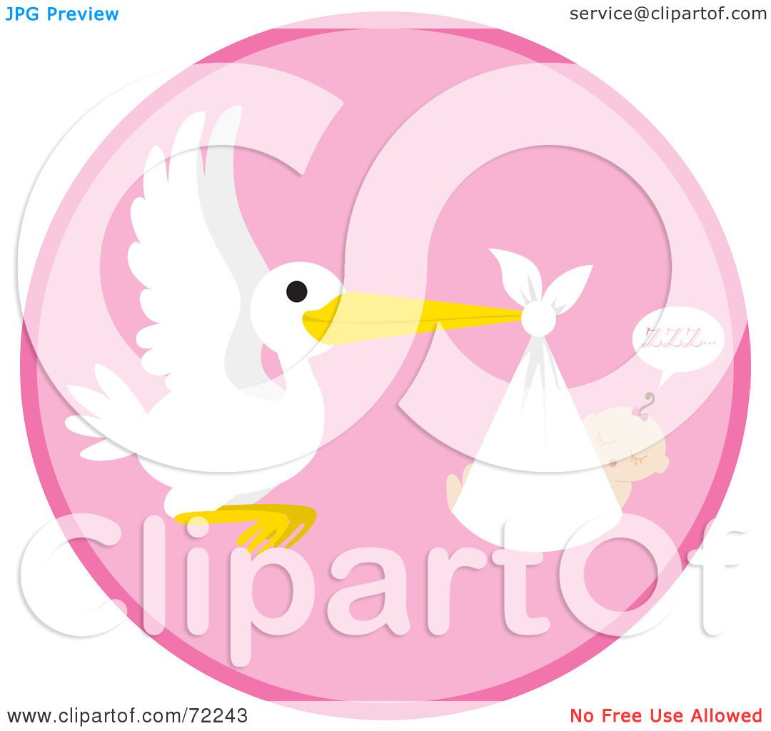 Royalty  Free RF Clipart  Illustration  Of A Pink  Circle  With A Stork  And A Sleeping  Baby  Girl