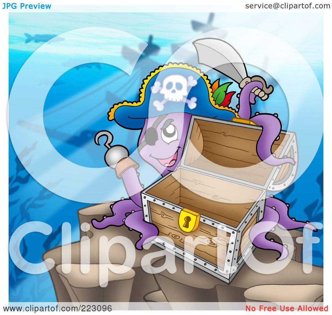 ... of a Pirate Octopus Near A Shipwreck With A Treasure Chest by visekart