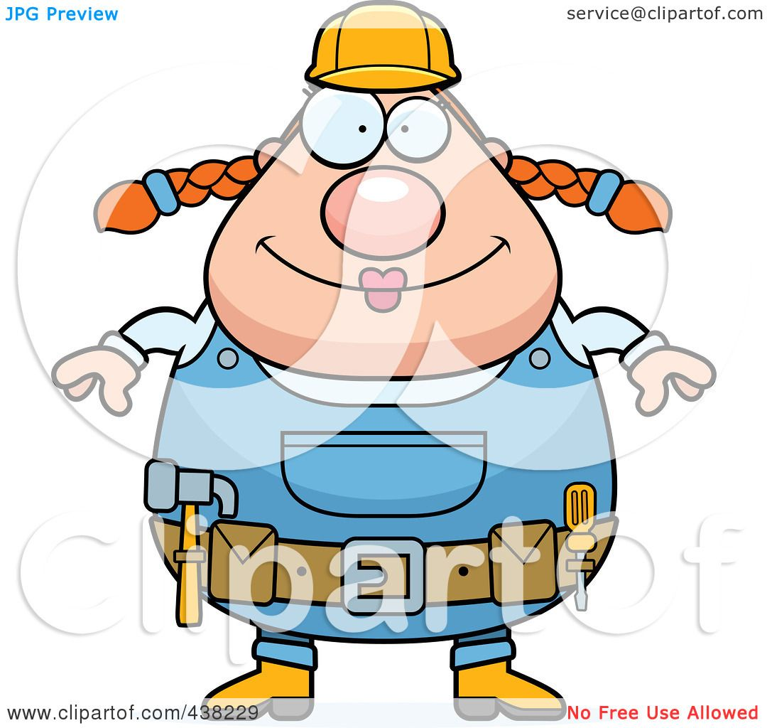 Royalty-Free (RF) Clipart Illustration of a Plump Female Builder ...