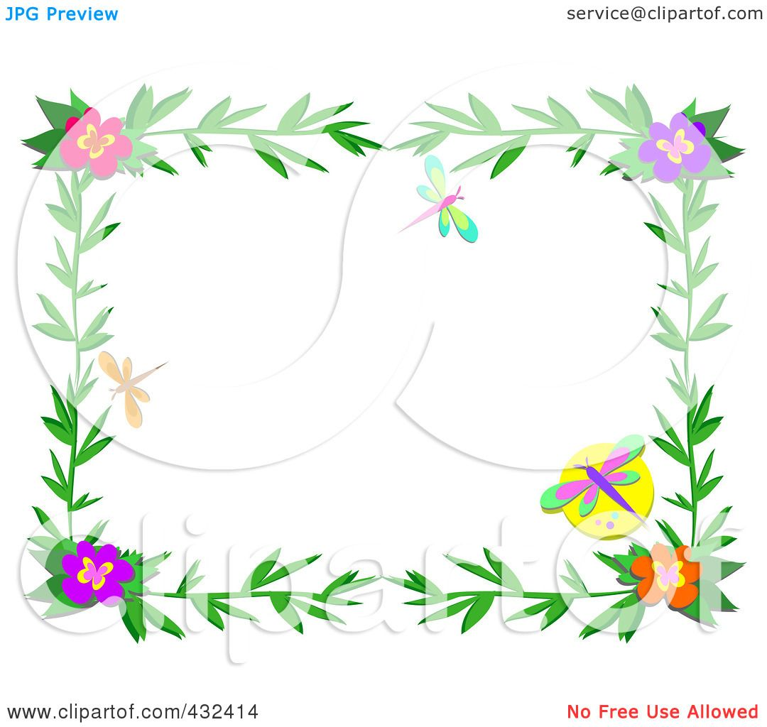 Royalty-Free (RF) Clipart Illustration of a Pretty Floral Frame - 1 ...