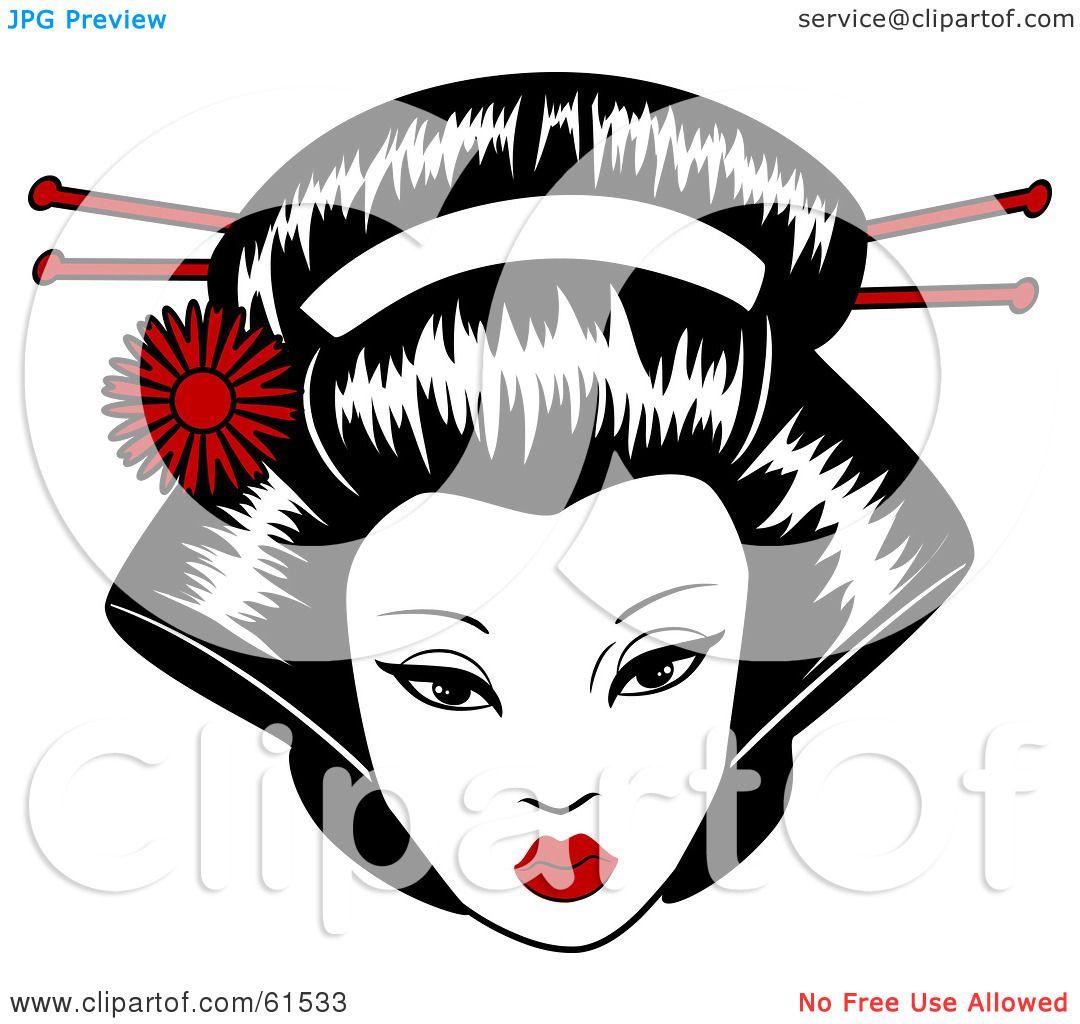Royalty-free (RF) Clipart Illustration Of A Pretty Geisha