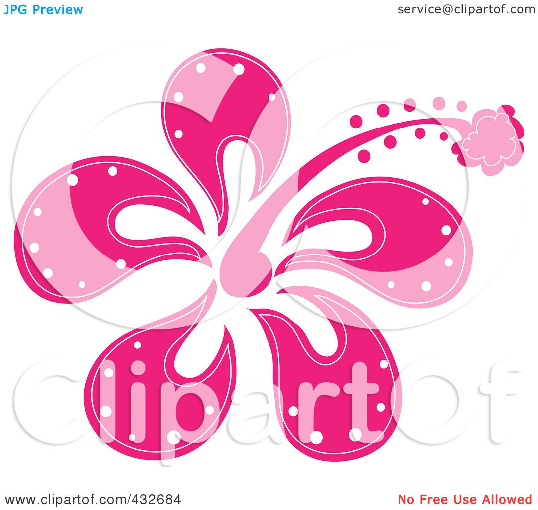 Royalty-Free (RF) Clipart Illustration of a Pretty Pink Hibiscus ...