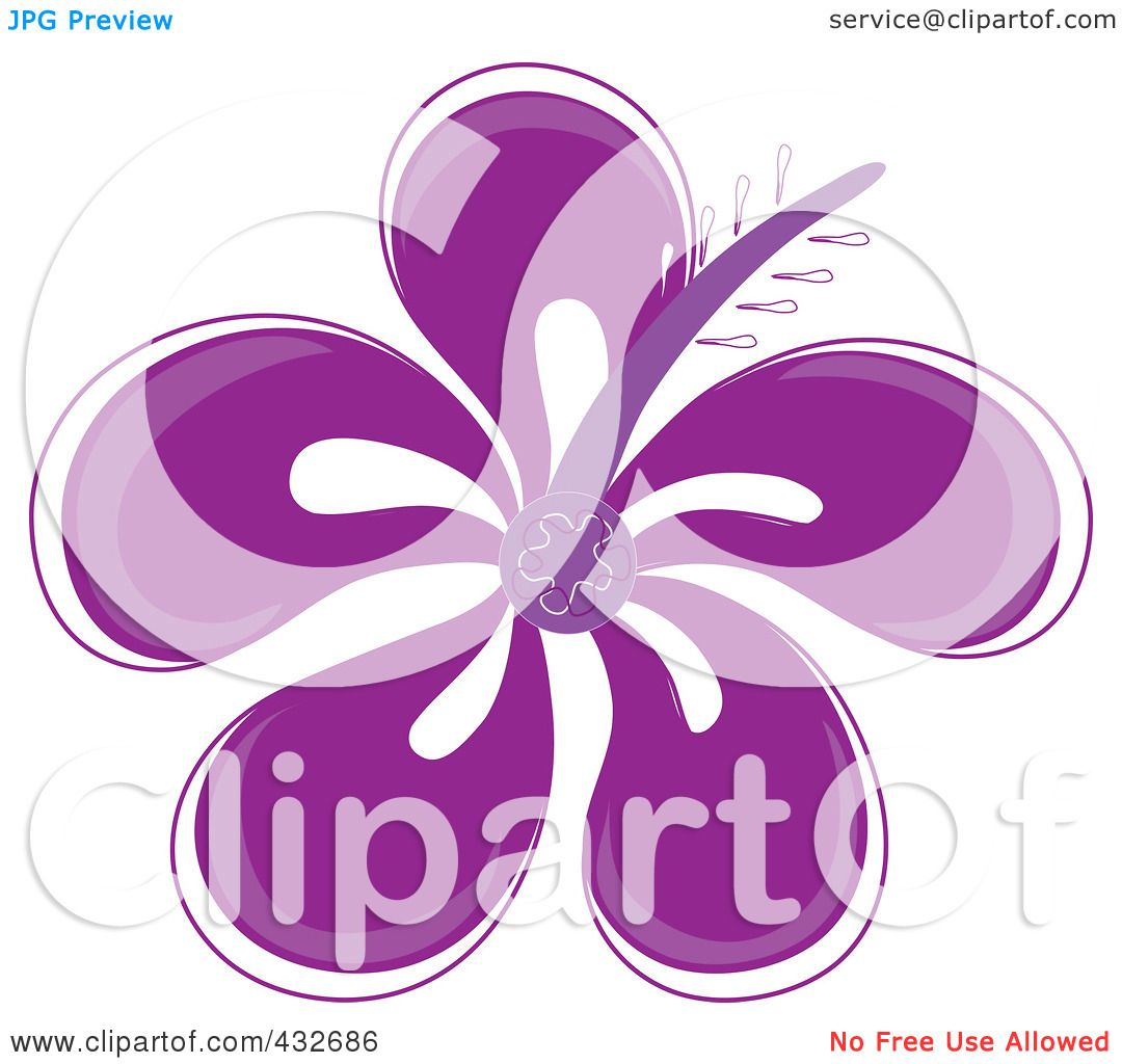 Royalty Free Rf Clipart Illustration Of A Pretty Purple Hibiscus